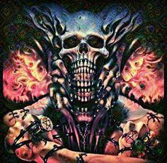 Deep dream filter skull digital art