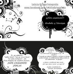 invitación de boda blanco y negro, diseño de Leticia Ortega Fotografía.
