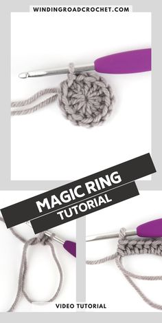 Learn to make a crochet magic ring with this new easy method. Video tutorial and photo tutorial. Ring Tutorial, Photo Tutorial, Easy Crochet Projects, Crochet Ideas, Diy Projects, Crochet For Beginners, Beginner Crochet, Crochet Stitches, Crochet Geek