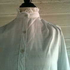 Vintage Baby Blue Blouse with pinstripes and lace by runaroundsuevintage, $22.00