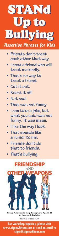 Assertive phrases for kids to use when someone is being mean to them. Kids need to learn these phrases as a form of self-protection. We all need to do what we can to stop bullying. Bullying Activities, Bullying Lessons, Stop Bullying, Anti Bullying, Bullying Facts, Education Positive, Bullying Prevention, School Social Work, School