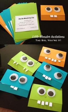 little monster theme first birthday party invitation ideas decorations baby boy #DogParty