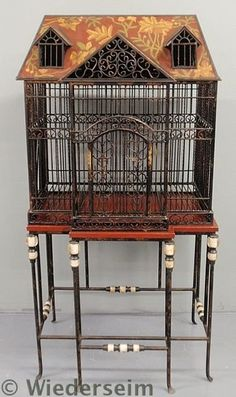Fine large standing wrought iron birdcage, 20th c