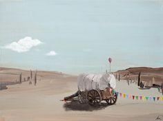 Painting by Michael á Grømma Titel: Waggon. Acrylic on canvas
