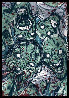 vuelven los Zombis!!! #ilustracion interior del libro Gardel contra los Zombis, de Roberto Garriz, ediciones El Zorzal #twd #twdseason8 #twdfamily #thewalkingdead #thewalk #thewalkingdeadamc #zombie #zombiewalk #zombies #zombieapocalypse The Walking Dead, Zombie Apocalypse, Interior, Zombies, Caricatures, Book, Illustrations, Zombie Apocolypse, Design Interiors