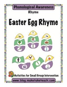 Fun Easter themed matching activity for practicing rhyme. 24 colorful rhyming eggs.
