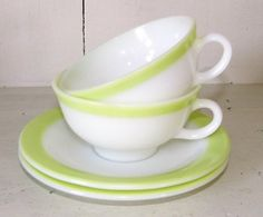 Pyrex 11 Retro Lime Green Set of 2 Cup and Saucer
