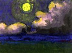 """lonequixote: """"Moon over the Marsh ~ Emil Nolde """""""