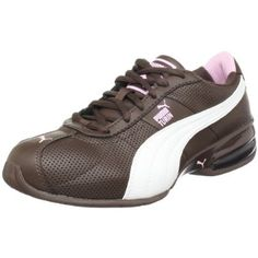 PUMA Women's Cell Turin Running Shoe,Chocolate Brown/White/Pink,8 B(M) US. A casual athletic trainer designed to meet today's lifestyle needs. This heritage upper, combined with our heel tenCELL unit (the ultimate in cushioning) is perfect to wear before, during, and after a run. Outsole: Rubber Midsole: EVA and Bubble tech Upper: Perf'd Leather with tumbled Leather Overlays