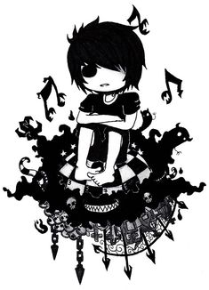 this is randomly cool emo💀💔✖🎧🎶🥀 Anime Chibi, Manga Anime, Anime Art, Gothic Drawings, Dark Drawings, Amazing Drawings, Emo Art, Goth Art, Creepy Pictures