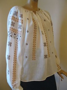 Vintage Hand Embroidered Romanian Blouse Ethnic Top Beige Brown M Size | eBay