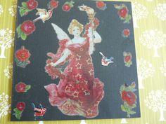 Zwarte kaart met Engel met fakkel en vele rozen