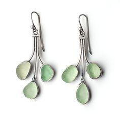 Sprig Earrings in Pale Green Sea Glass