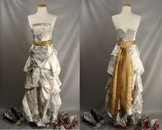 $110.00 Dirty Distressed Tattered Zombie Prom Dress. Zombie Bride Bridesmaid. BLOOD OPTIONAL. White Strapless Pick Up Gown. Halloween Costume XS 0 2