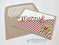 Stampin up stampinup pretty order stamp it online holidays catalog card idea envelope liner die christmas ornament punch collectibles