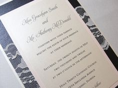 $638 Lace Wrapped Wedding Reception Invitations, Wedding Invites, Wedding Invitations, by Lavender Paperie on Etsy