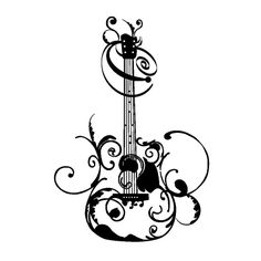 SALELARGE TEEN Flourished Guitar Vinyl Wall Decal  by KidsCorner, $36.50