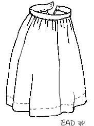 Idiotically simple lady-hobbit skirt with a waistband, finished with hooks and eyes. Because I loathe drawstring skirts.