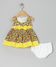 Take a look at this Green & Yellow Floral Bow Dress & Diaper Cover - Infant by the Silly Sissy on #zulily today!
