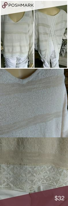 Free People Slit-back Top Another Free People awesome piece. Lightweight popcorn material. Lace detail, free falling and comfy. Size is small but as roomy as it is, it could fit a medium frame also. Free People Tops