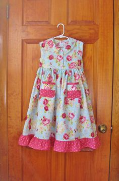 Toddler girls Pink roses maxi dress blue by ForTheLoveOfSmocking