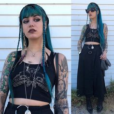 The everyday witch 🌿 Top from Sovrin, belt and headband from Creations by Magi, mushroom necklaces by Moon and Serpent, sunglasses by Pearls and Swine. Alternative Outfits, Alternative Fashion, New Look Coats, Cute Fashion, Fashion Looks, Estilo Dark, Casual Goth, Gothic Looks, Vintage Goth