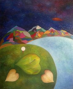 "Saatchi Art Artist Stefan Silvestru; Painting, ""Ryan golf course"" #art #sports #golf #woods #mountains #love #nature #turf #sea #clouds #tee #ryan"