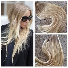6A Brazilian Blonde Remy Tape-in Human Hair Extensions Ombre Skin Weft 40Pc 100g #HotQueen #HairExtension