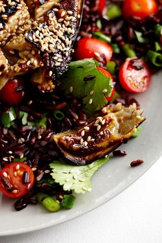 Miso Baked Eggplant with Black Rice Salad | Lush Loves