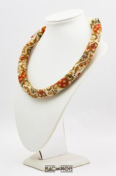 Paisley red gold green bead crochet necklace Ethnic choker Unique seed bead necklace for women Brightly tracery statment rope collar