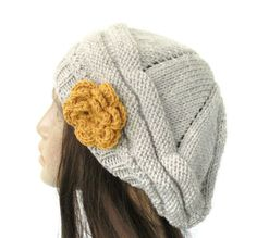 Hand Knit Hat  chunky knit Beehive beret  Oatmeal  by Ebruk, $30.00