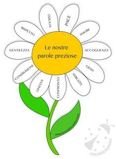 Fiore con le parole preziose: un grazioso fiore che contiene nei petali parole importanti. da stampare nella versione colorata o in quella da colorare.