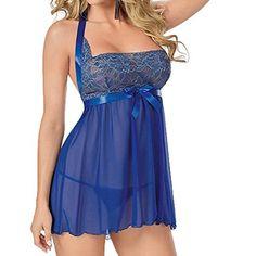 Jastore®Frauen Lingerie Dessous Reizwaesche Halter Babydoll Nachtwäsche Kleid (L, Blau)