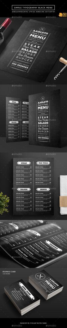 Simple Typography Black Menu Template Vector EPS, AI Illustrator