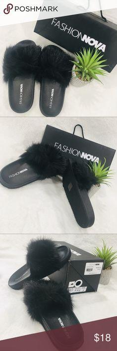 c767b805b BRAND NEW FASHION NOVA Black Fuzzy Slides BRAND NEW FASHION NOVA Black Faux  Fur Fuzzy slides