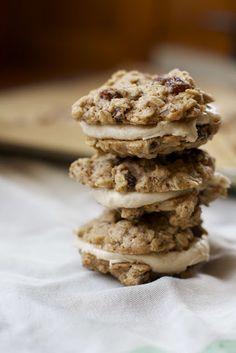 Vegan Oatmeal Raisin Cookies with Cinnamon Cream Cheese Frosting