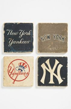 'New York Yankees' Marble Coasters (Set of 4) | Nordstrom. Would be great to decorate my man's cave.