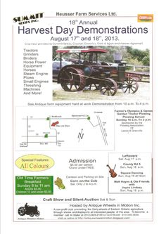 """Come out August 17th and 18th to appreciate, enjoy and indulge in our South Grenville farming roots! See antique farm equipment, live bands including new guests """"The Leftoverz"""" and Farmer's Olympic Games! Adults are $5.00 and Children under 12 GET IN FREE!  Don't forget to come on back Sunday morning for the Old Time Farmer's Breakfast, Adults $5.00 and Children under 12 only $3.00. Craft show and silent auctions on both days demonstrations run from 10am to 4pm. Harvest Day, Small Engine, Local Events, Silent Auction, Steam Engine, Farmer, Tractors, Sunday Morning, Olympic Games"""