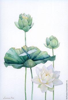 Акварель Наедине. Лотосы - лотосы, лотос, стрекоза, акварель, цветы акварелью, интерьерная картина, handmade watercolor painting
