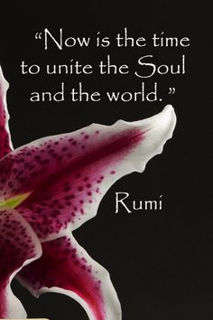 """Now is the time to unite the Soul and the world."" -- Rumi -- On stock image by Florence McGinn -- Explore intriguing quotations on the ""Whispered Words of Wisdom"" Pinterest board at https://pinterest.com/fmcginn/whispered-words-of-wisdom/   or delve into connections derived from learning and exploration at http://www.examiner.com/article/for-the-love-of-travel-and-learning"