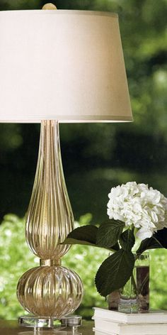 lovely vignette with Venetian glass lamp; Murano glass decor and lighting inspiration and ideas