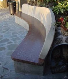 Concrete bench; made with forms.  Artist picture only, no instructions.