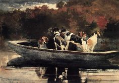 winslow homer paintings   Dogs in a Boat (also known as Waiting for the Start ) (1889)
