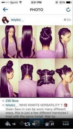 Frisyrer du kan få med vixen sew-in - ny hår stiler 2018 Sew In Hairstyles, Pretty Hairstyles, Braided Hairstyles, Hairstyle Ideas, Fringe Hairstyle, Fashion Hairstyles, Short Hairstyle, Black Hairstyles, Vixen Sew In