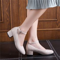 48b3827da67b Patent Leather Ankle Straps Women Pumps Square Heel 6036
