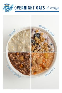 Almond Breeze Almondmilk makes breakfast as easy as Enjoy one of these overnight oats before the kids catch the bus! Healthy Cooking, Healthy Snacks, Healthy Eating, Cooking Oatmeal, Almond Breeze, Vegan Recipes, Cooking Recipes, How To Make Breakfast, Love Food