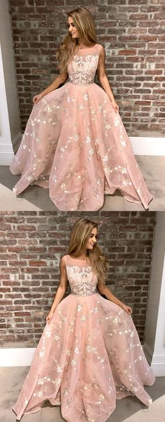 A-Line Round Neck Pink Tulle Prom Dress with Appliques Lace, princess pink long prom dresses, modest party dresses with appliques #pinkdress #fashiondress