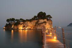 Bridge to Agios Sosis Island Beachbar, near Laganas in Zakynthos, Greece