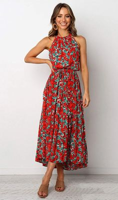 Flower Dresses, Floral Maxi Dress, Pretty Dresses, Dress Up, Summer Floral Dress, Halter Dress Casual, Women's Dresses, Red Dress Casual, Floral Outfits