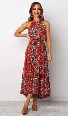 Flower Dresses, Floral Maxi Dress, Pretty Dresses, Halter Dress Casual, Midi Dresses, Maxi Dress With Slit, Long Summer Dresses Casual, Midi Summer Dresses, Summer Floral Dress